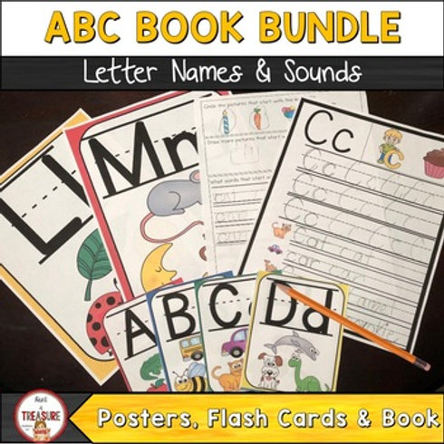 Alphabet Book, flash cards, posters, and activities for toddlers and kindergarteners.