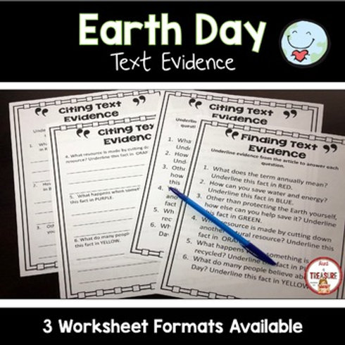 Earth Day Citing and Finding Text Evidence FSA Writing Support Activity