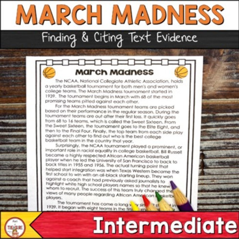 March Madness Finding and Citing Text Evidence 3rd, 4th, and 5th Grade FSA Practice