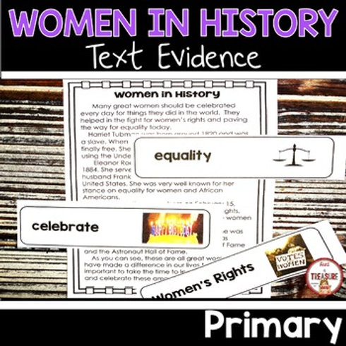 Learn to find text evidence with a Reading Passage about women in History for 1st and 2nd Grade