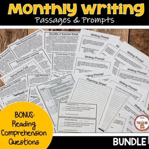 Monthly Paired Passages and Writing Prompts for FSA Writing Bonus Reading Comprehension Questions