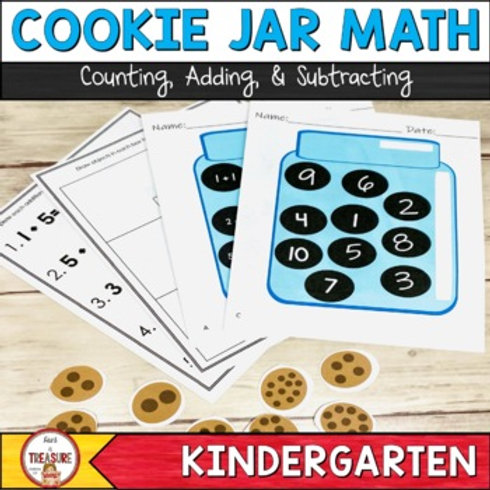 Counting, Adding, and Subtracting Math Activities for Kindergarten Cookie Jar Math