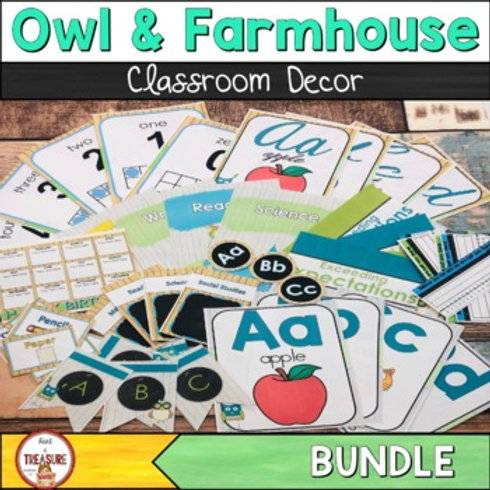 Farmhouse and Owl Theme Classroom Decor with Teal and Green