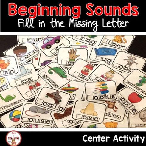 kindergarten Literacy center activities to practice beginning letters and sounds