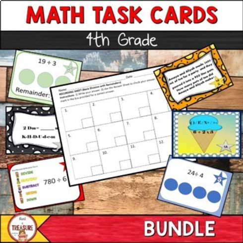 4th Grade Math Task Cards are greta for math independent practice and math centers for school or at home practice.