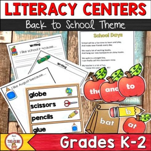 Back to School Literacy Center Activities for kindergarten, 1st, and 2nd grade