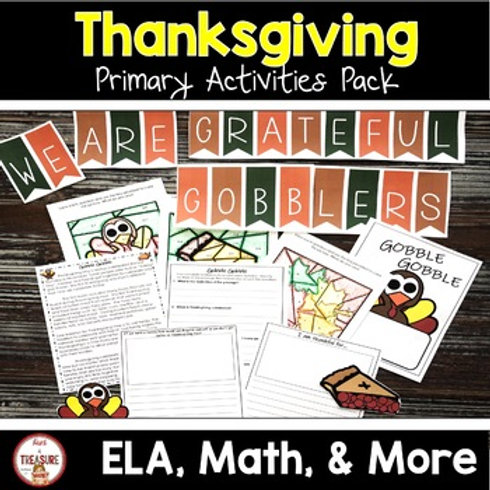 Thanksgiving Reading and Math Activities for Kindergarten, 1st, and 2nd Grade