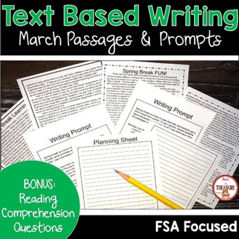 Spring Break Paired Passages, Writing Prompts, and Reading Comprehension. Great for FSA Writing