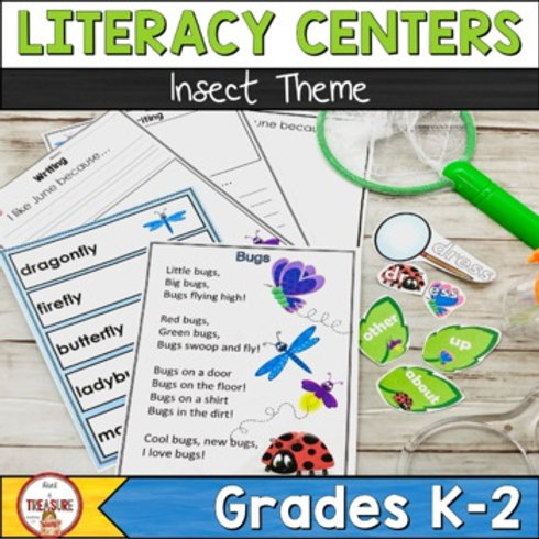 Bug and Insect Theme Literacy Centers for kindergarten, 1st, and 2nd Grade