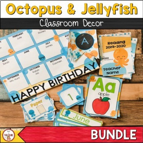 Octopus and Jellyfish Classroom decor for Back to School