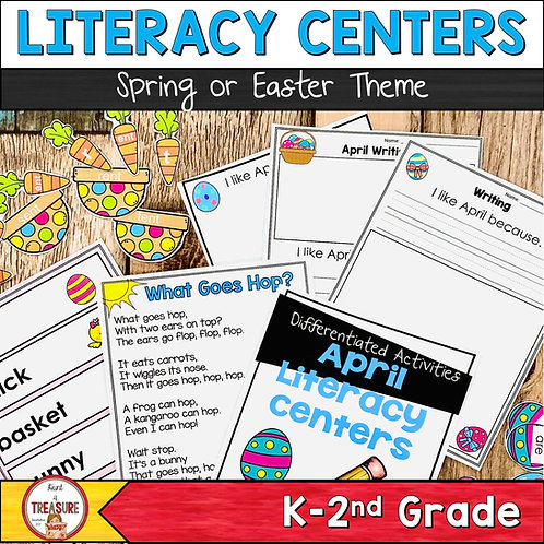 Spring Easter April Literacy Center Activities   Kindergarten to 2nd Grade