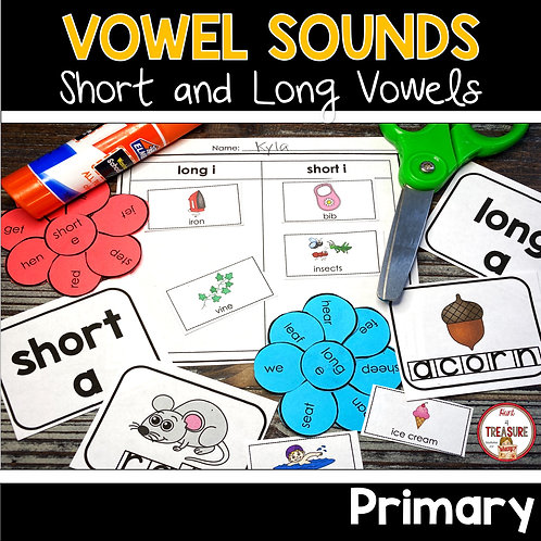 Long and short vowel sound practice for literacy centers and word work activities.