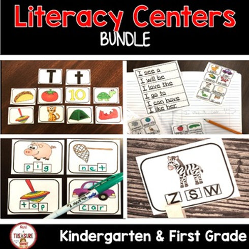 Literacy Center Activities for Kindergarten and First Grade Word Work and Phonics