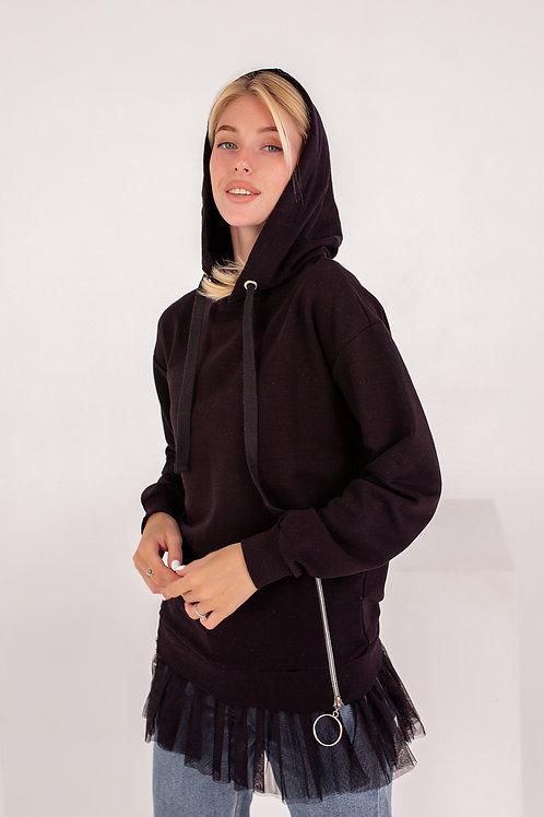 Женское худи FINKA с декором черное