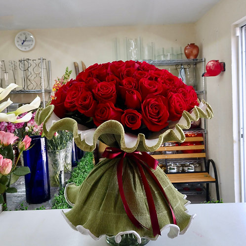 Rosas en crepé