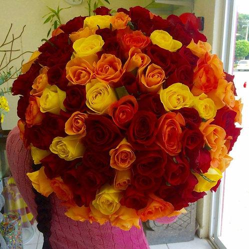 150 rosas en ramo