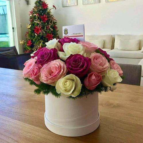 Rosas en caja cilindro