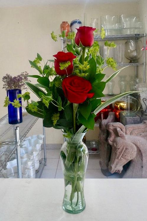 Violetero con rosas