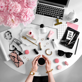 Instagram pink monochrome flat lay.png