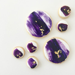 Hand-brushed cookies with gold flake
