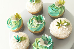 Bright Green Floral Cupcakes