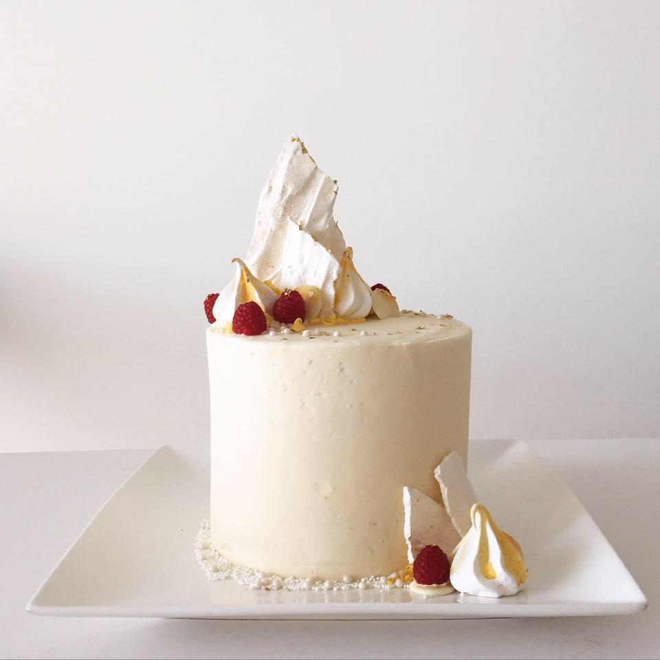 Lemon Raspberry Meringue Cake