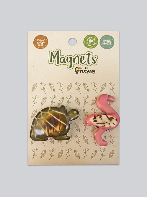Tagua Magnets I 2 Magnets Set I Tortoise & Flamingo