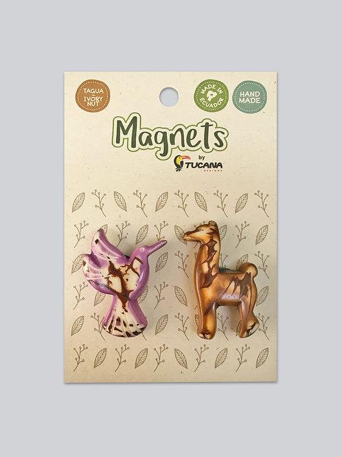 Tagua Magnets I 2 Magnets Set I Hummingbird & Llama