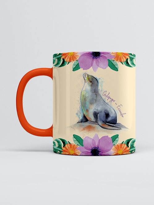 Flower & Wildlife Mug I Sea Lion