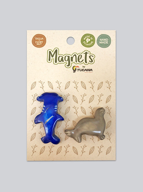 Tagua Magnets I 2 Magnets Set I Shark & Sea Lion