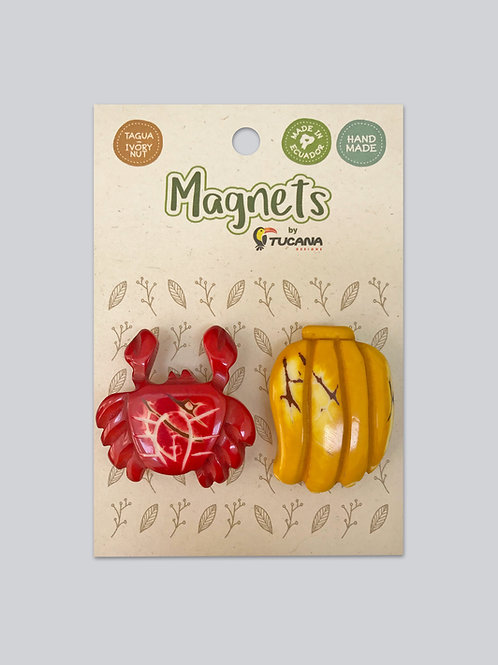 Tagua Magnets I 2 Magnets Set I Crab & Banana