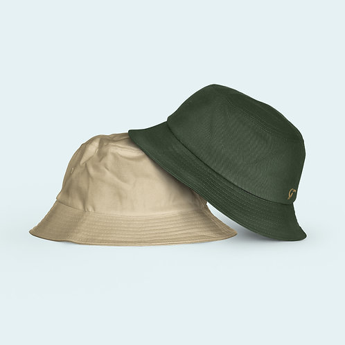 Adult Reversible Hat I Khaki & Green