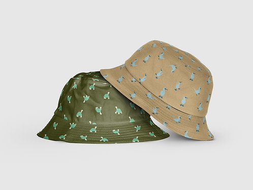 Kids Reversible Hat I Khaki & Green