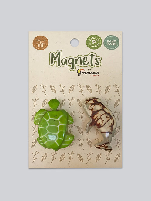 Tagua Magnets I 2 Magnets Set I Sea Turtle & Whale