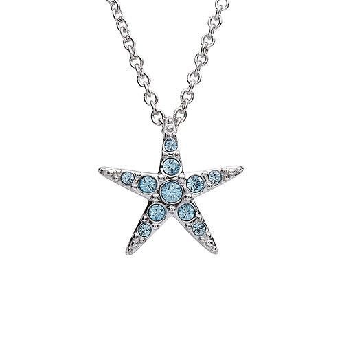 Starfish Pendant With Aqua Swarovski® Crystals – Small Size
