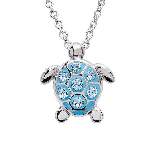 Sea Turtle Necklace With Aqua Swarovski® Crystals – Small Size