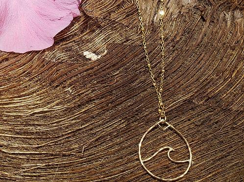 Wave inside Teardrop Necklace -Gold Filled