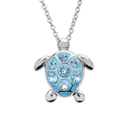 Sea Turtle Necklace With Aqua Swarovski® Crystals – Medium Size