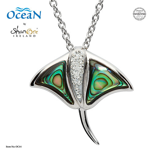 Manta Ray Necklace With Abalone Shell & Swarovski® Crystals