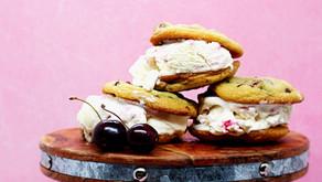 Ice Cream Sandwiches (Cherry Chocolate Chip Cookies with No-Churn Bourbon Cherry Swirl Ice Cream)
