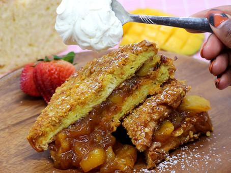 Crunchy French Toast Stuffed with Mango Filling and Vanilla Bean Mascarpone Whipped Cream