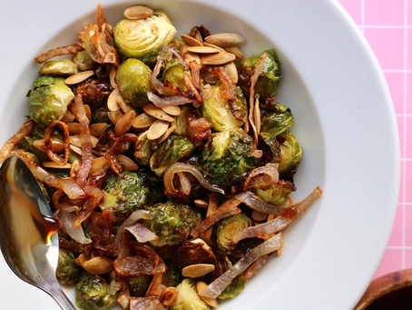 Roasted Brussels Sprouts with Pumpkin Seeds, Fried Shallots & Sherry Brown Sugar Glaze