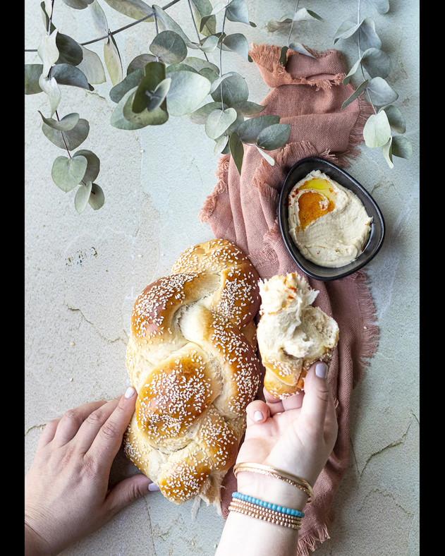 challah and hummus