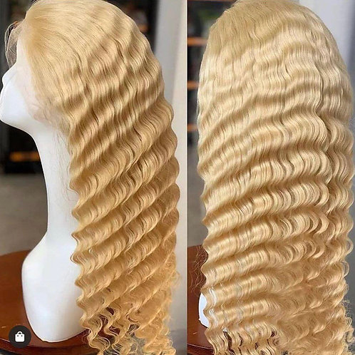 "24"" Blonde Deep Wave Lace Front Wig"