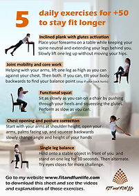 5 daily exercises for +50yo to stay healthy longer