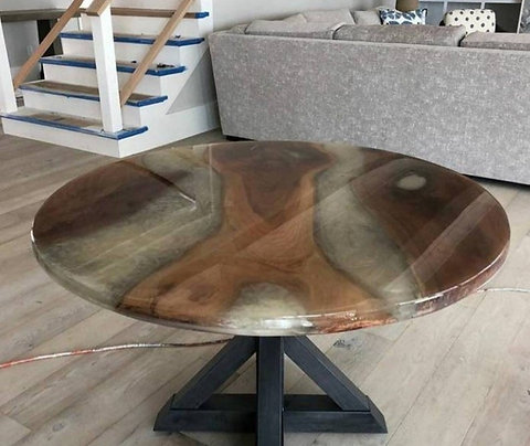 Unique Handcrafted Round live edge epoxy resin Dining Room Table, Modern  Dining