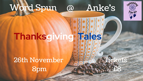 the word thanksgiving tales on a background with a pumpkin and a spotty mug.