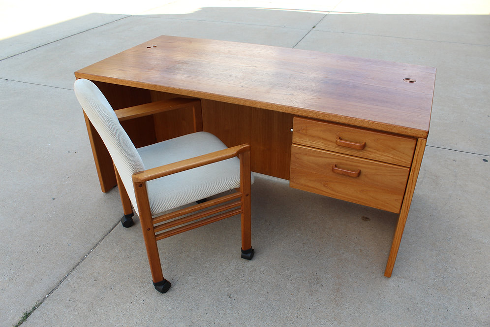 Vintage Teak Wood Executive Desk W Rolling Chair