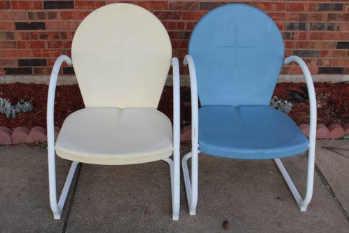 outdoor metal chair. 2 Outdoor Vintage Style Metal Chairs Chair