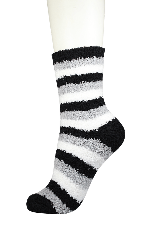 Fluffy Soft Bed Socks Black Stripe
